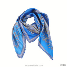 TOROS custom my own digital silk scarf indian blue printing scarf silk scarf