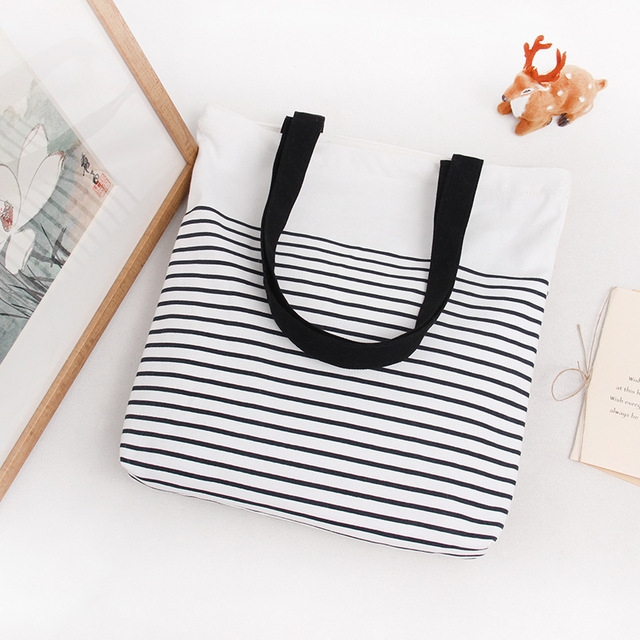 YILE Cotton Canvas Shopping Tote Shoulder Carrying Bag Eco Reusable Bag Zippered Small Stripe E168