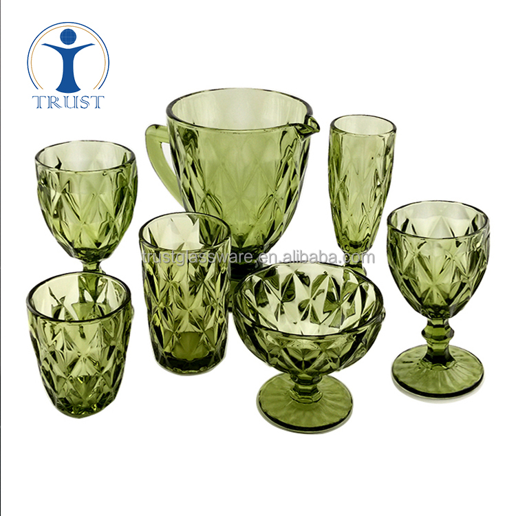 Wedding Home Factory High Quality China Classic Personalized Machine Made Colored Beautiful Drinking Glass Sets