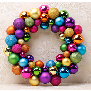 2018 New design multicolor color ball christmas decoration wreaths