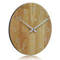 Simple Decorative Customizable 35cm round face Wooden clock