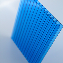 Blue 6mm 10 years guarantee twin wall polycarbonate hollow sheet sun panel