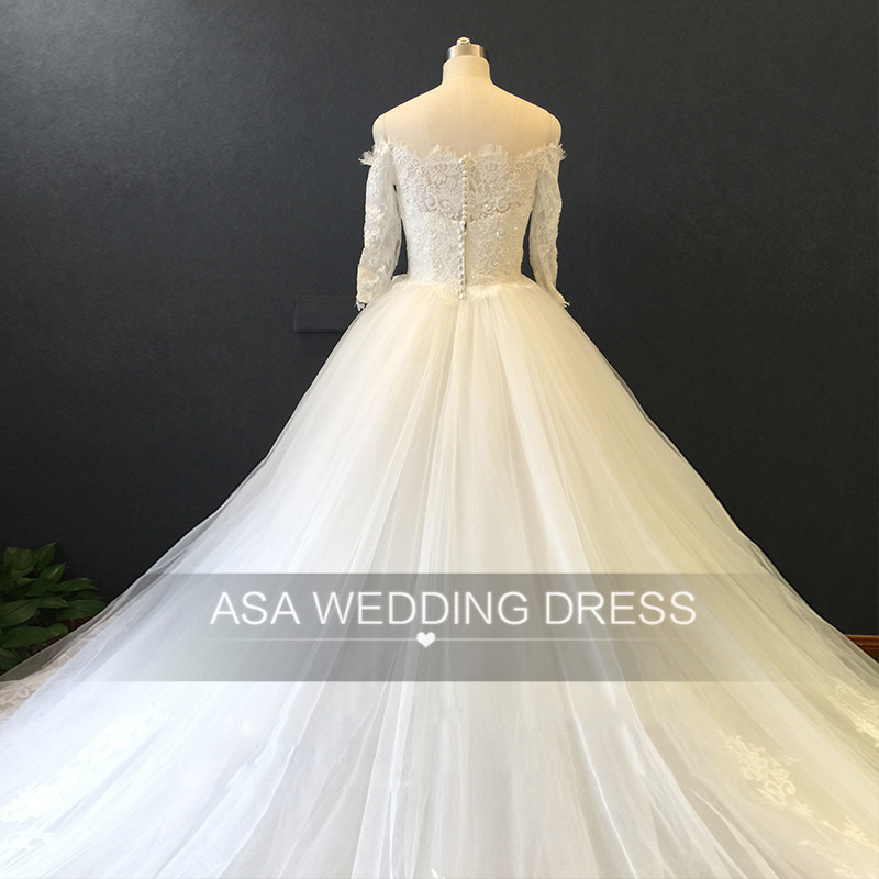 ASA029 Real Photos Elegant Lace Ball Gown Wedding Dress Three Quarter Sleeve Off Shoulder Bridal Gown