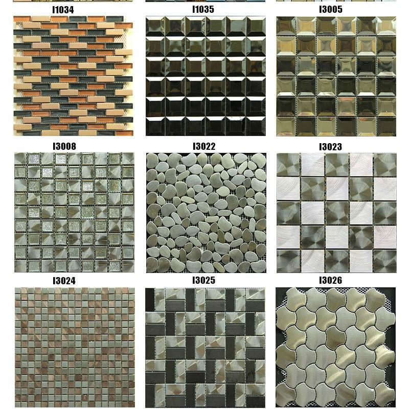 paraspruzzi per cucina in acciaio con metallo piastrelle di mosaico ...
