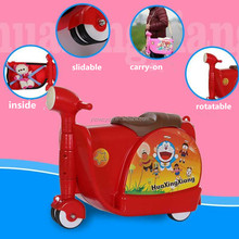 2016 lovely fashionable children trolley case / kids ride on suitcase easy to carry ride-on bag car