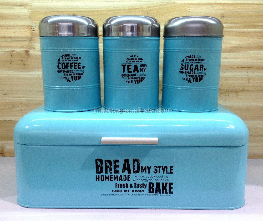 fda metal bread bin and 3 canister set with stainless steel lid fda metal bread bin and 3 canister set with stainless steel lid