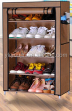 Portable Folding Hot Sale Non-woven Dustproof Fabric 5 Tier Shoe Rack with Cover