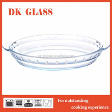 Round pyrex glass baking tray/ pizza plate/ baking pan with handle microwave oven safe