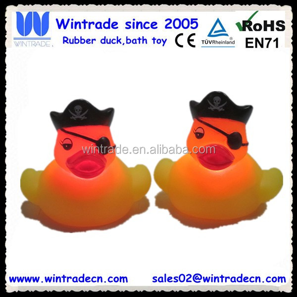 LED lighted kids toy flashing yellow pirate duck with hat