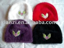 Beautiful and funny winter children rabbit-hair hat