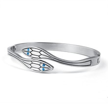 silver plated snake bangle bracelet with blue stone