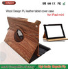 Wood Grain Leather Skin cover stand case for ipad mini Handheld Wood Grain Leather Case for Apple iPad Mini with Card Slots