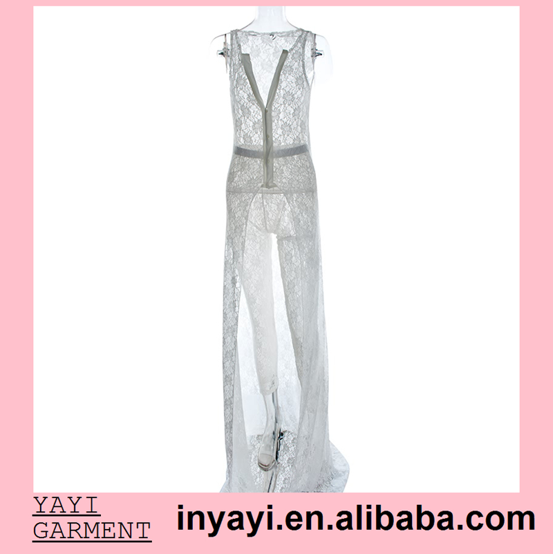 Custom New Design Sexy Tights Women White Dress Sleeveless Lace Deep v Sexy Club Jumpsuits See Through Jumpsuits