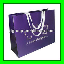 purple color offset printing Ribbon Band Paper gift bags