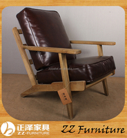 Wooden antique recliner chair leather Living Room Armchair
