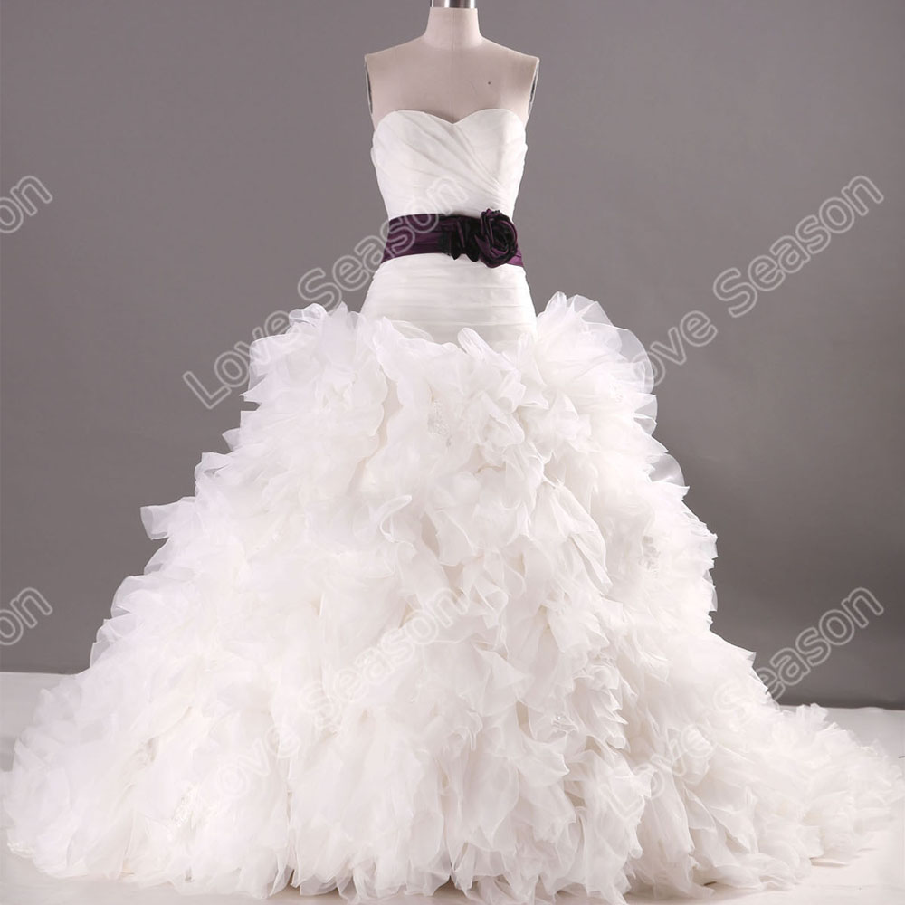 LS0114 purple sash ruffled skirt wedding dress organza fabric real hot sale wedding dresses real pictures of wedding dress