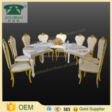 Fast delivery good price stainless steel legs semi-circle dining table high glossy white dining table