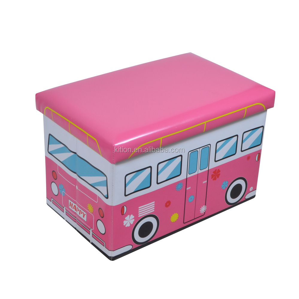New Bus Folding Storage Ottomans kids seat box for children