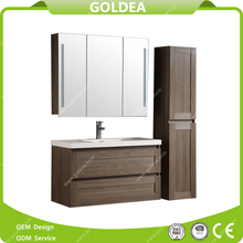 Euro style floor standing bathroom vanity with mirror cabinet