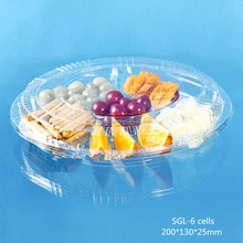 Big Round Plastic Food Container for Cake and fruit with 6 compartments