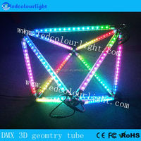 3d rgb dmx512 meteor tube star shower DMX geometry tube with node