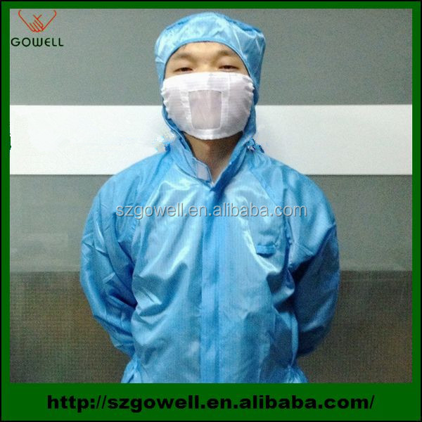 Recyclable Cleanroom Uniform anti-static clothing ESD suit for mobilephone LCD repairing machine