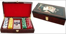 wooden case poker sets with poker chips