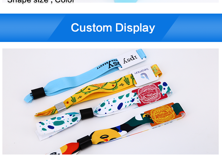 Passive customized printing fashion festival events 1K S50 fabric adjustable 13.56mhz rfid nfc woven wristband
