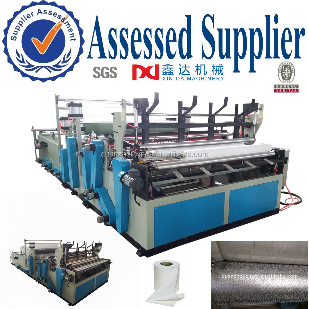 full automatic rewinding and perforation bathroom toilet paper industrial machine,embossed toilet roll paper machine equipment