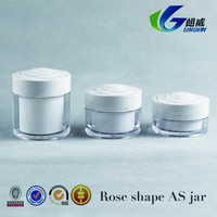 alibaba 30g rose shape white cap skin cream empty cosmetic plastic jar container