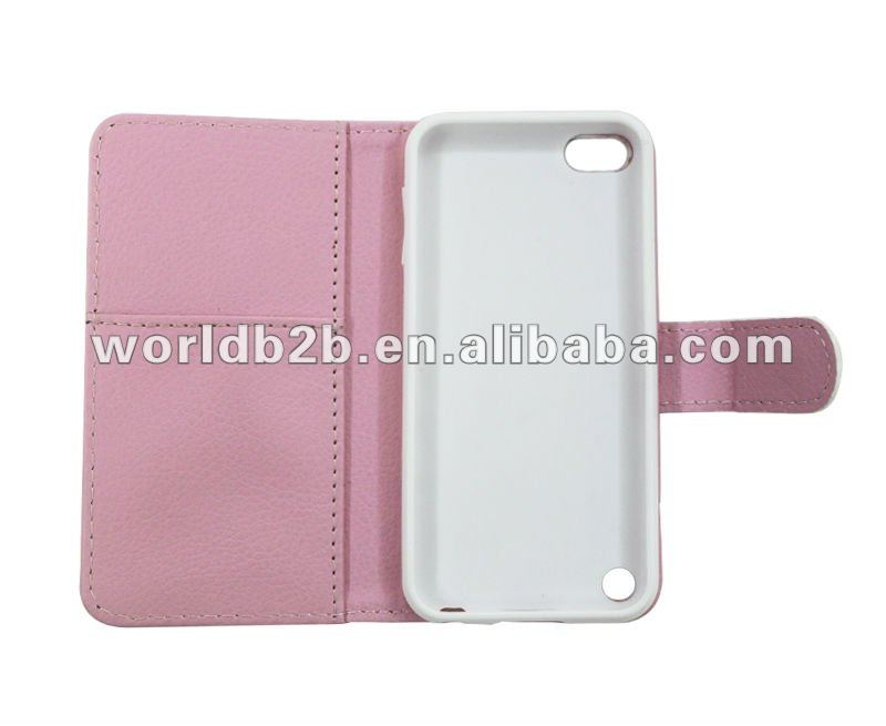 flip leather case for ipod touch 5 with card slot, inside PC or TPU