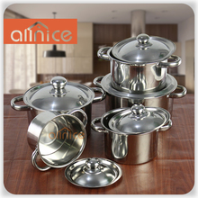 Ninety degrees mirror polishing straight stainless steel soup pot with stainless steel tube handle