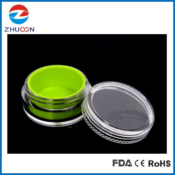 Clear plastic dab container silicone oil container inserted cosmetic acrylic jar 5ml oil concentrate jars for dry herb