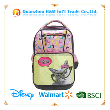Girls 4 Wheels lovely cat printing Trolley School Bags Kids Wheeled Backpack Bag with bow for Girls Primary School