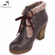 2017 New Arrival Women Booties Shoes Brown Leather Fur Plush Lace Up Waterproof Platform Block Heel Winter Ankle Boots
