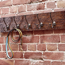 Rustic Wooden Wall Mounted Coat Rack dark Brown with Aged Brass Hooks