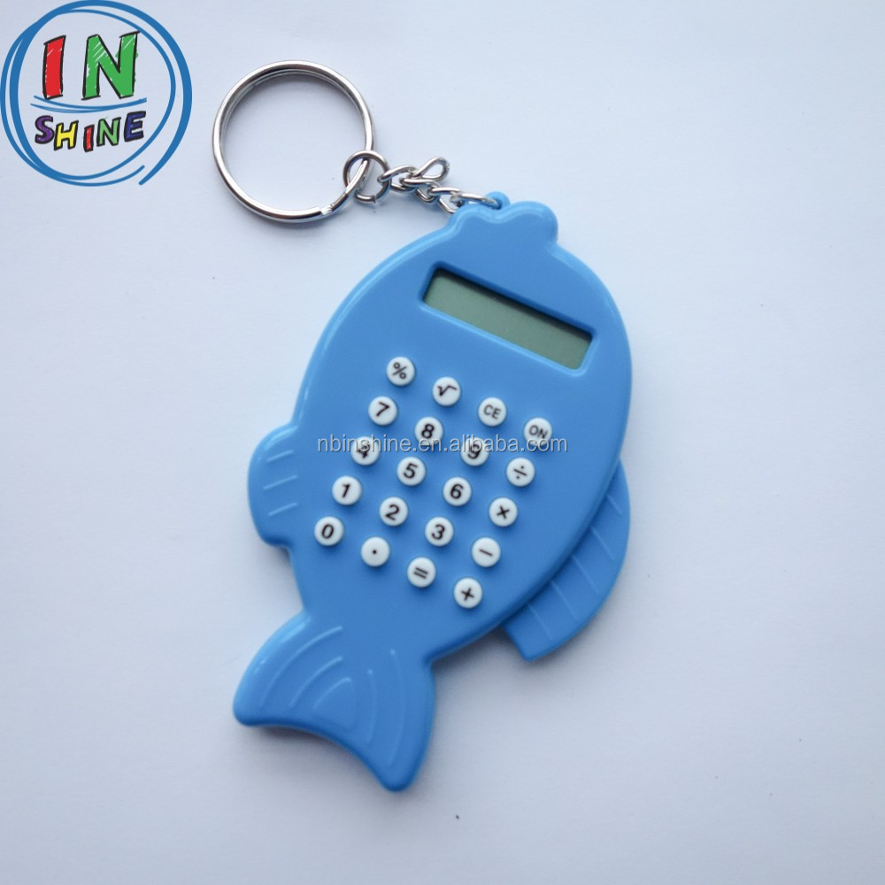 Small lovely fish shaped basic calculator , calculator with key chain
