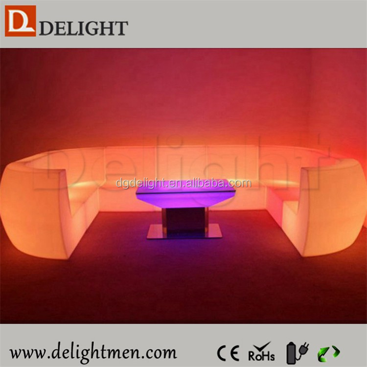 LED Furniture Hot Sale Lighted Waterproof 16 Color Changing Remote Control Living Room Furniture Purple Sofa