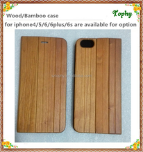 Unique Design Full Wood Bamboo Leather Phone Bumper Case, Stable Wooden Stand Flip Phone Cover