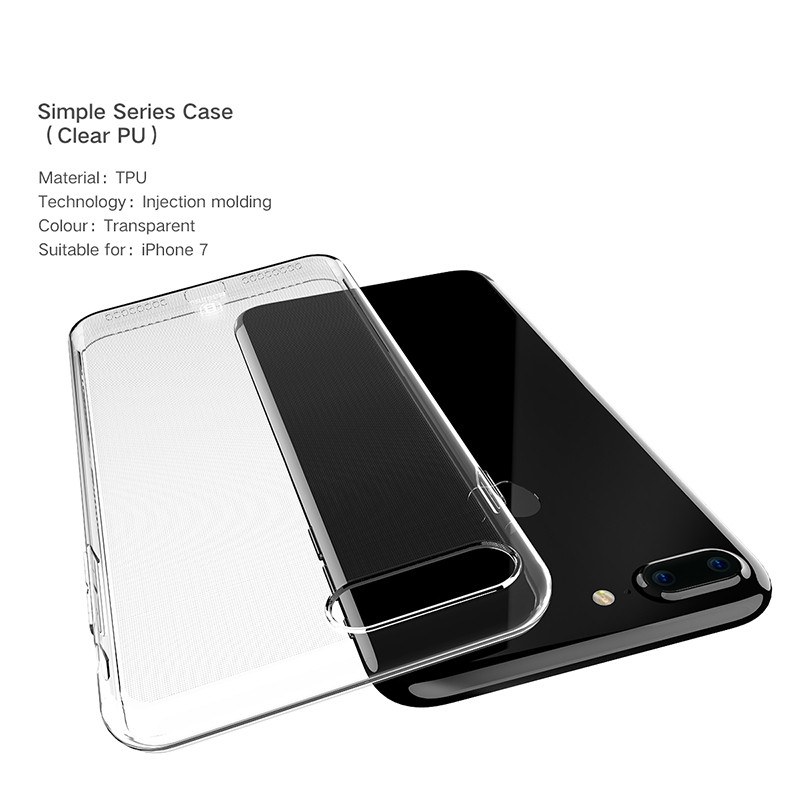 Baseus Three-piece Sets Transparent Soft TPU Case for iPhone 7 Plus 5.5 inch Back Cover +Data Cable + Tempered Screen Protective