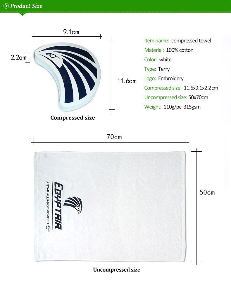 Cheap face towels 100% cotton magic towel promotional gifts