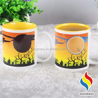 Magic mug paint changes color with temperature