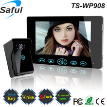 "2014 tamper alarm rainproof HD TS-WP 908 9""TFT-LCD touch button capture taking photos solar charger door ring wireless"
