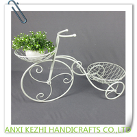 KZ160044 Ancient 2 Tier Wrought Iron Bicycle Plant Stand