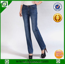 Ocoo Top design fashion OEM service blue monkey wash denim women straight jeans