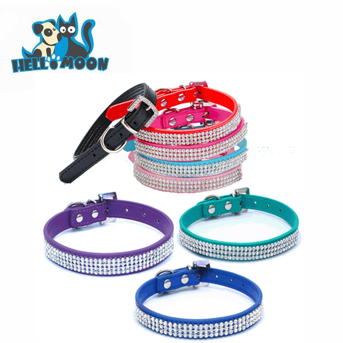Fake Diamond Free Sample Dog Head Drill Bling Leather Pet Collars For Dogs And Cats