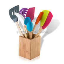 Bamboo colorful Silicone Kitchen cooking Tool utensil Set (9-Piece)