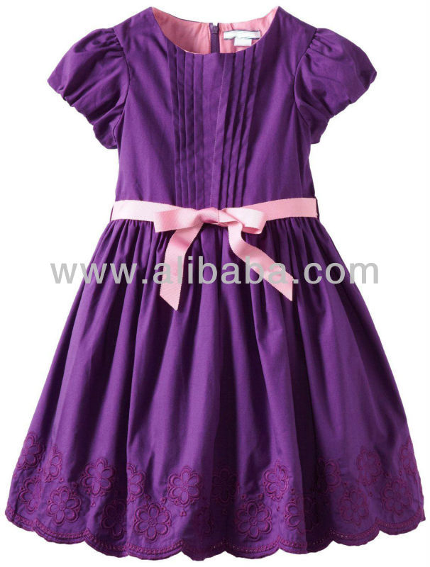 Very Beautiful New Styles Girls Dress Very Nice Purple Embroidery Border Hem Princess Girls Dress Frock Girls Flower Designs