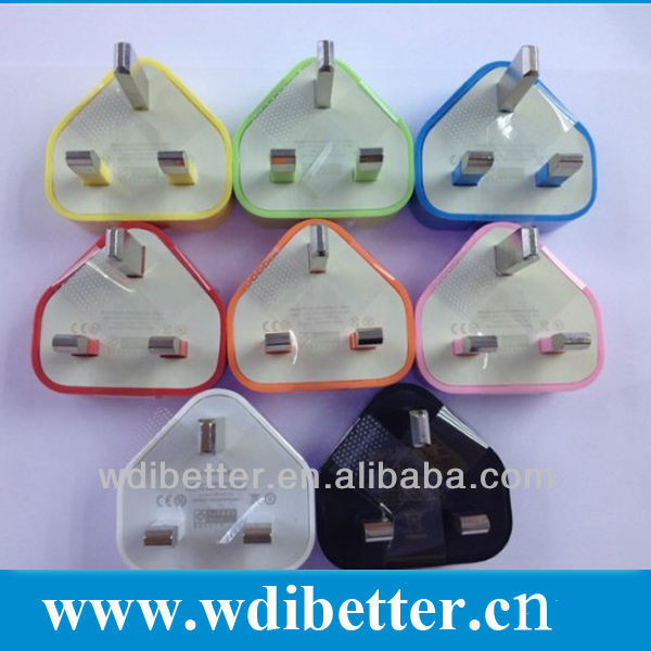 Colorful UK AC adapter 1A USB Wall charger UK Plug for cell phone for iPhone3G 3GS 4 4S