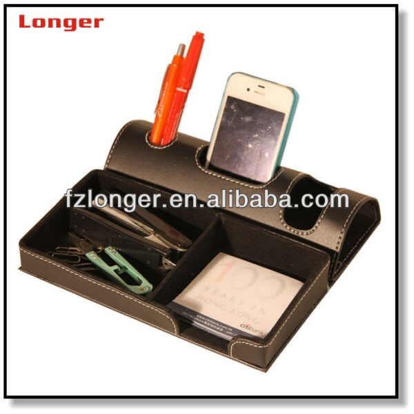 Pressional designed funny PU leather pen holder with mobile phone holder memo pad holder